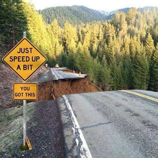highway 3 washout with road sign in Trinity County