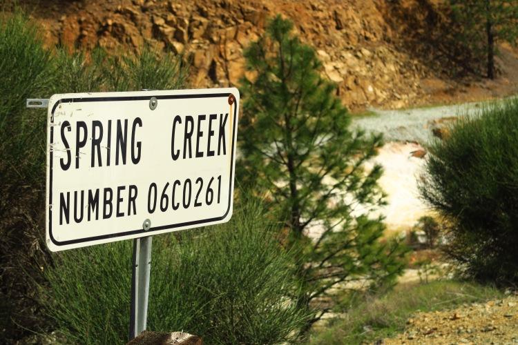 Spring Creek road sign near Keswick reservoir