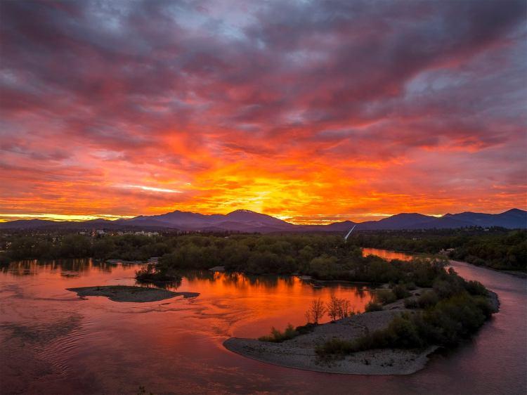 sunset over Redding, CA