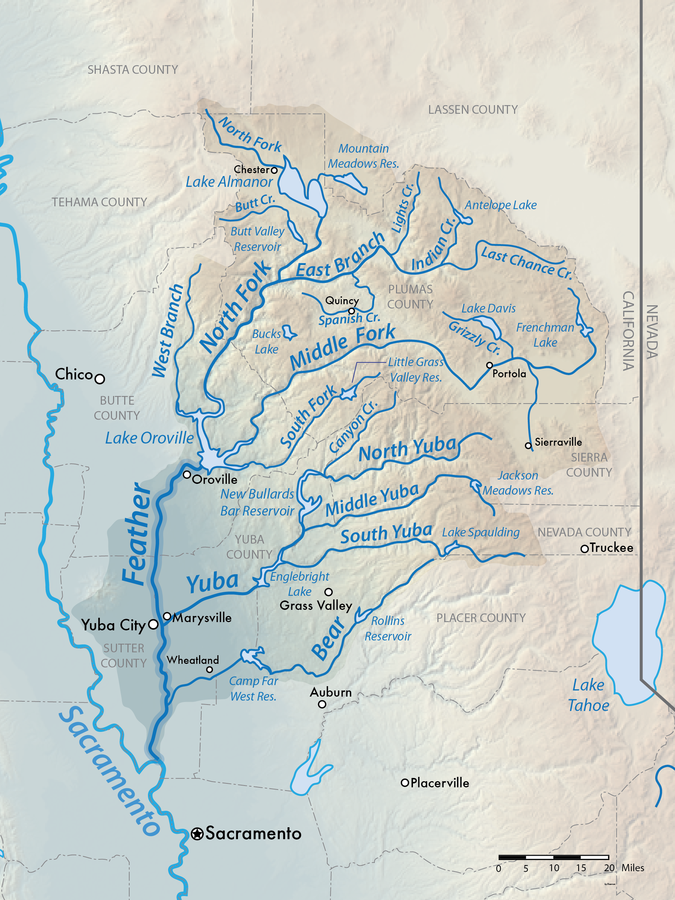 Map of Yuba River Watershed